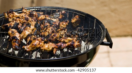Marinated chicken barbecue over a coal fire - stock photo