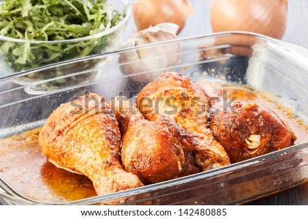 Marinated chicken drumsticks. Selective focus