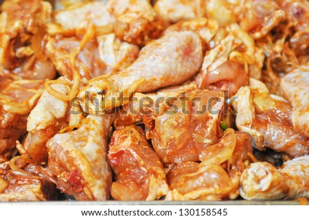 marinated chicken meat - stock photo