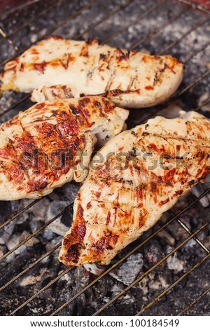 Marinated chicken steaks on a grill (selective focus) - stock photo
