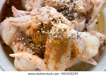 marinated Chicken wings with pepper - stock photo