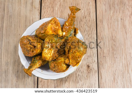 Marinated fish in indian spices ready for cooking - south indian Cuisine - India. - stock photo