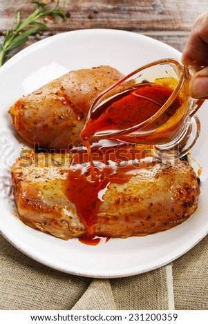 Marinated meat - stock photo