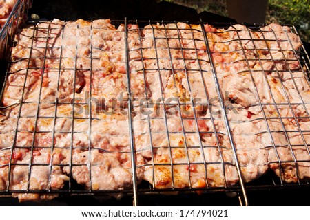 Marinated meat kebab with tomatoes and onions on grill. - stock photo