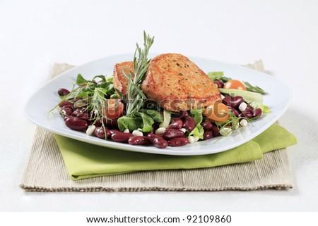 Marinated pork and red bean salad  - stock photo