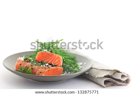 Marinated Salmon. Gravlax. Scandinavian Food - stock photo