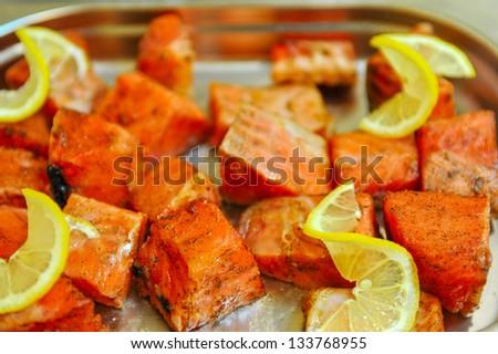 marinated salmon shashlik - stock photo