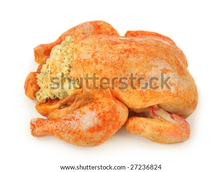 Marinated stuffed raw chicken isolated on white background - stock photo