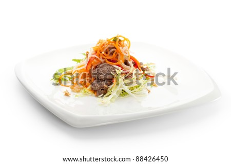 Marinated Vegetables Salad with Fried Beef - stock photo