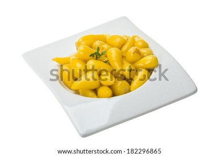 Marinated yellow pepper isolated - stock photo