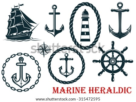 Marine and nautical heraldic elements - ropes, lighthouse, anchors, sheep and steering wheel - isolated on white - stock photo