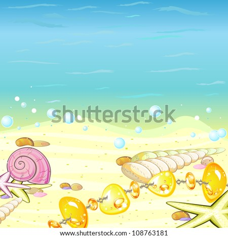 Marine background with sea shells and amber beading on sand