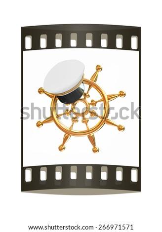 Marine cap on gold marine steering wheel on a white background. The film strip - stock photo