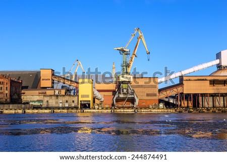 Marine cargo port of Ventspils on the Baltic Sea, Latvia,  January 2015 - stock photo
