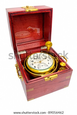Marine chronometer, mounted in gimbals with a mahogany box. The movement is mounted in gimbals so that it remains horizontal and thus undisturbed by the motion of the ship.