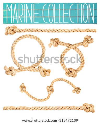 Marine clip-art collection of rope cuts isolated on white.