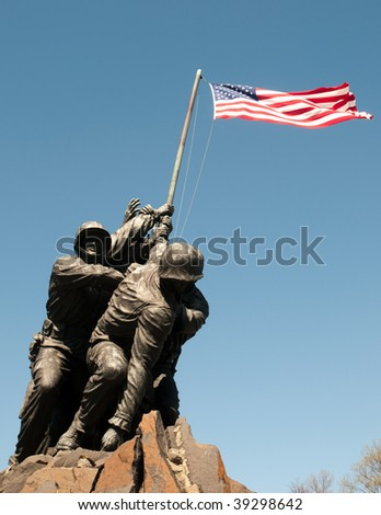 Marine Corps War Memorial and Iwo Jima flag raising statue
