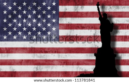Marine Corps War Memorial monument against the american flag - stock photo