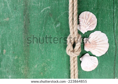 Marine knot on color wooden background - stock photo