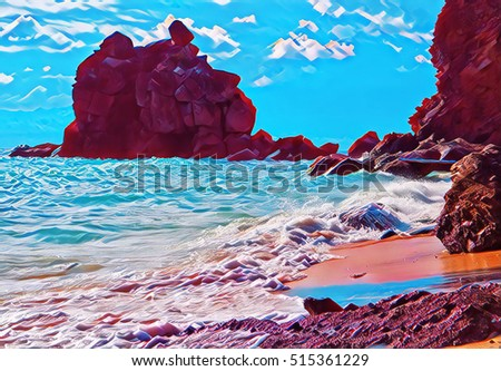 Marine landscape with rocks by seashore. Wild tropical island beach view. Bright seaside digital illustration. Sea waves during high tide. Exotic nature and warm sea. Summer vacation banner template