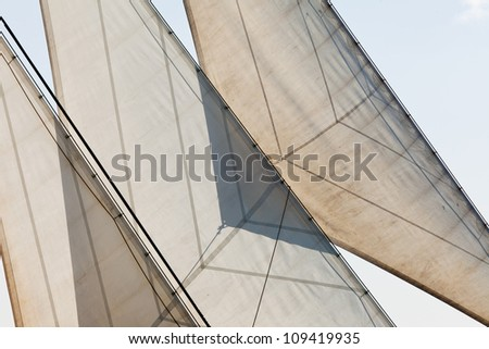 Marine or nautical background detailed abstract of sails and rigging of yachtl - stock photo