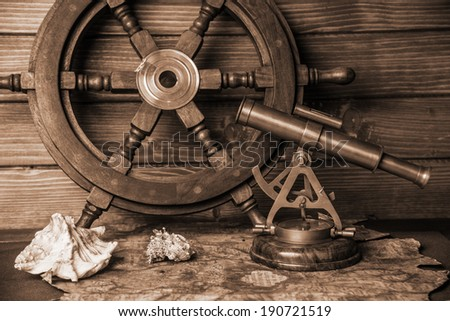 Marine set for adventurers - stock photo