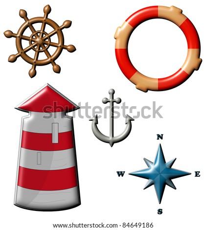 Marine set - lighthouse, life preserver, anchor, wind rose - stock photo