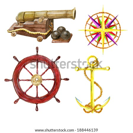 Marine set with the hand drawn cannon, wind rose, steering wheel and anchor, watercolor illustration - stock photo
