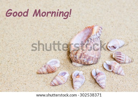 "Marine Shells  on the  sand, Sea mood wallpaper. Vacations , holidays, traveling background. ""Good Morning!"" inscription - stock photo"