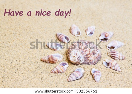 "Marine Shells  on the  sand, Sea mood wallpaper, Vacations , holidays, traveling background. ""Have a nice day!"" inscription - stock photo"