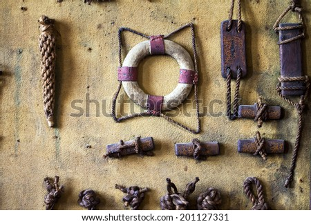 Marine Symbols On the Wall - stock photo