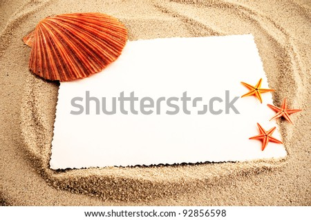 Marine themed background of paper sheet and few seashells on a sand.