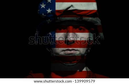 Marine U.S. Army in sorrow. Soldier's longing. Love of country. Men's tears. Sadness for the victims. The price of democracy. - stock photo
