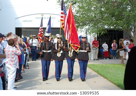 Marines participating in Memorial Day ceremony - stock photo