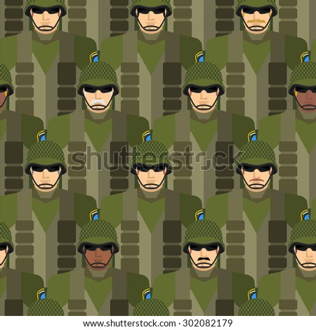 Marines seamless pattern. Soldiers in helmets and bullet-proof vests. Military people. US Army.  - stock photo