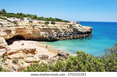 Marinha beach, Algarve region, Portugal - stock photo