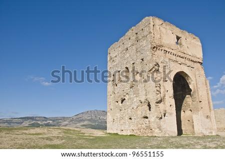 Marinid tombs ruins at Fez, Morocco - stock photo