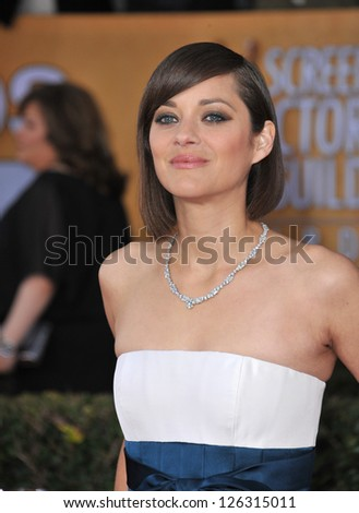 Marion Cotillard at the 19th Annual Screen Actors Guild Awards at the Shrine Auditorium, Los Angeles. January 27, 2013  Los Angeles, CA Picture: Paul Smith - stock photo