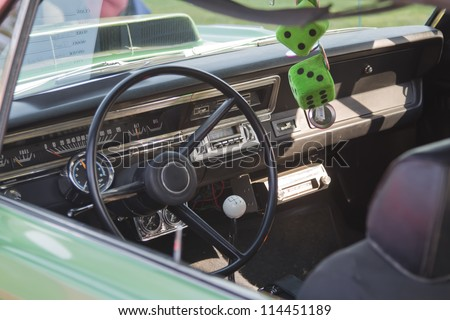 MARION, WI - SEPTEMBER 16: Interior of 1969 Dodge Dart car at the 3rd Annual Not Just Another Car Show on September 16, 2012 in Marion, Wisconsin.