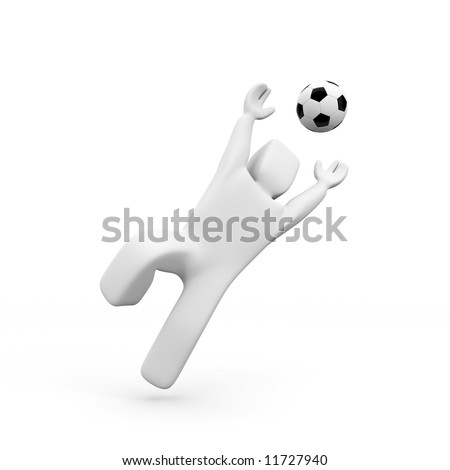 Marionette and football ball. Sport concept