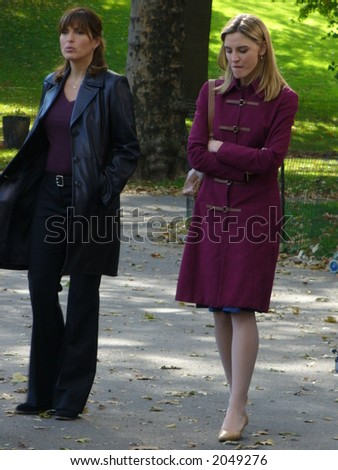 Mariska Hargitay and Isabel Gillies on the set of Law & Order: Special Victims Unit in New York City(visible Noise at Full Size)