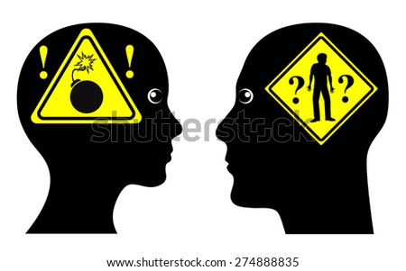 Marital Crisis. She is stressed  and fed up with him while he pretends to have no idea why - stock photo