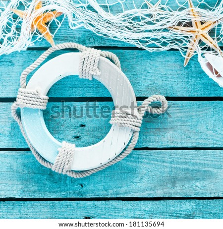 Maritime Decoration Themed Background Copyspace On Stockfoto
