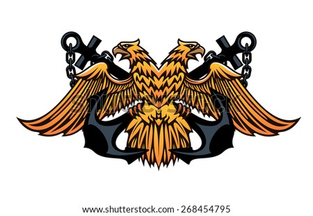 Maritime or nautical emblem with a double headed eagle with outspread wings over a crossed pair of anchors - stock photo