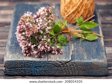 Marjoram Origanum vulgare herb blooming  - stock photo