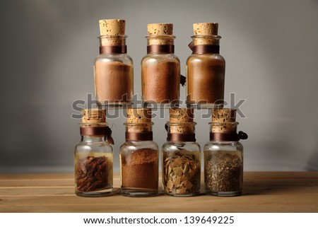 marjoram spices chilli curry sauce for exotic oriental dishes - stock photo