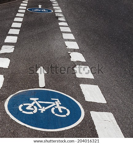 Mark of a bicycle zone crossing - city life - stock photo