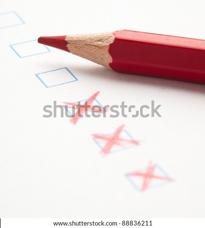 mark on check box of test closeup - stock photo