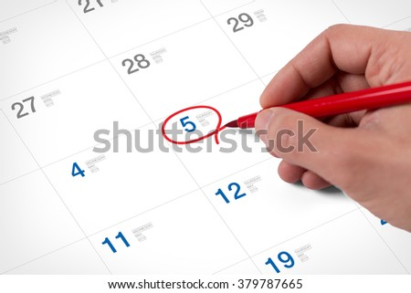 Mark on the calendar at May 5, 2016. Save the date. - stock photo