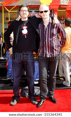 "Mark Osborne and John Stevenson attend the Los Angeles Premiere of ""Kung Fu Panda"" held at the Grauman's Chinese Theater in Hollywood, California, United States on June 1, 2008.  - stock photo"